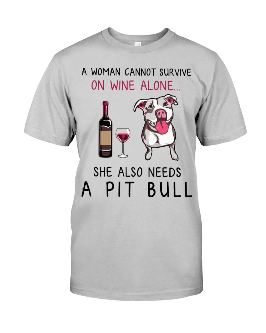 Wine and Pit Bull 2 Classic T-Shirt