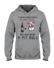 Wine and Pit Bull 2 Hooded Sweatshirt thumbnail