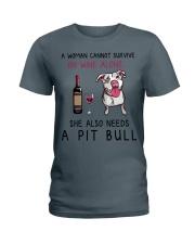 Wine and Pit Bull 2 Ladies T-Shirt thumbnail