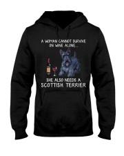 Wine and Scottish Terrier Hooded Sweatshirt thumbnail