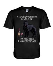 Wine and Groenendael V-Neck T-Shirt thumbnail
