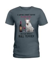 Wine and Bull Terrier 2 Ladies T-Shirt thumbnail