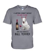 Wine and Bull Terrier 2 V-Neck T-Shirt thumbnail