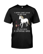 Wine and Camargue Horse Classic T-Shirt front