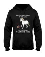Wine and Camargue Horse Hooded Sweatshirt thumbnail