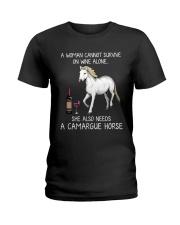 Wine and Camargue Horse Ladies T-Shirt thumbnail