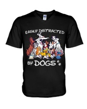 Distracted by Dogs V-Neck T-Shirt thumbnail