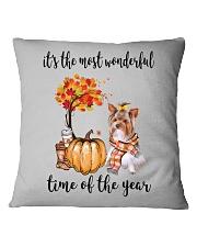 The Most Wonderful Time - Yorkie Square Pillowcase thumbnail