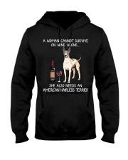Wine and American Hairless Terrier Hooded Sweatshirt thumbnail