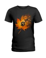 Paw Autumn Leaf  Ladies T-Shirt thumbnail