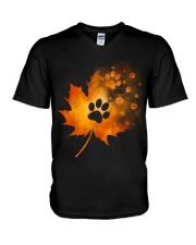 Paw Autumn Leaf  V-Neck T-Shirt thumbnail