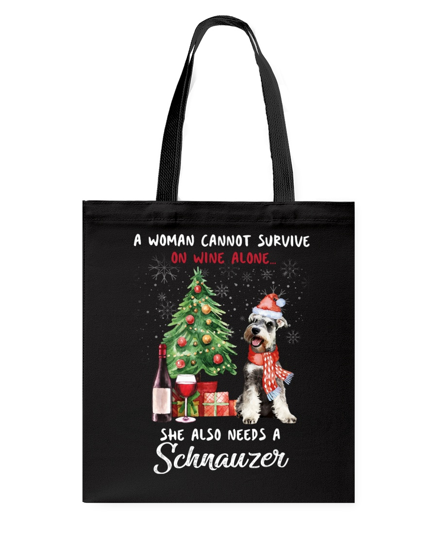 Christmas Wine and Schnauzer Tote Bag
