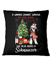 Christmas Wine and Schnauzer Square Pillowcase thumbnail