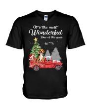 Wonderful Christmas with Truck - Beagle V-Neck T-Shirt thumbnail