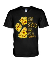 God Loves Us and Want Us To Be Happy 2 V-Neck T-Shirt thumbnail
