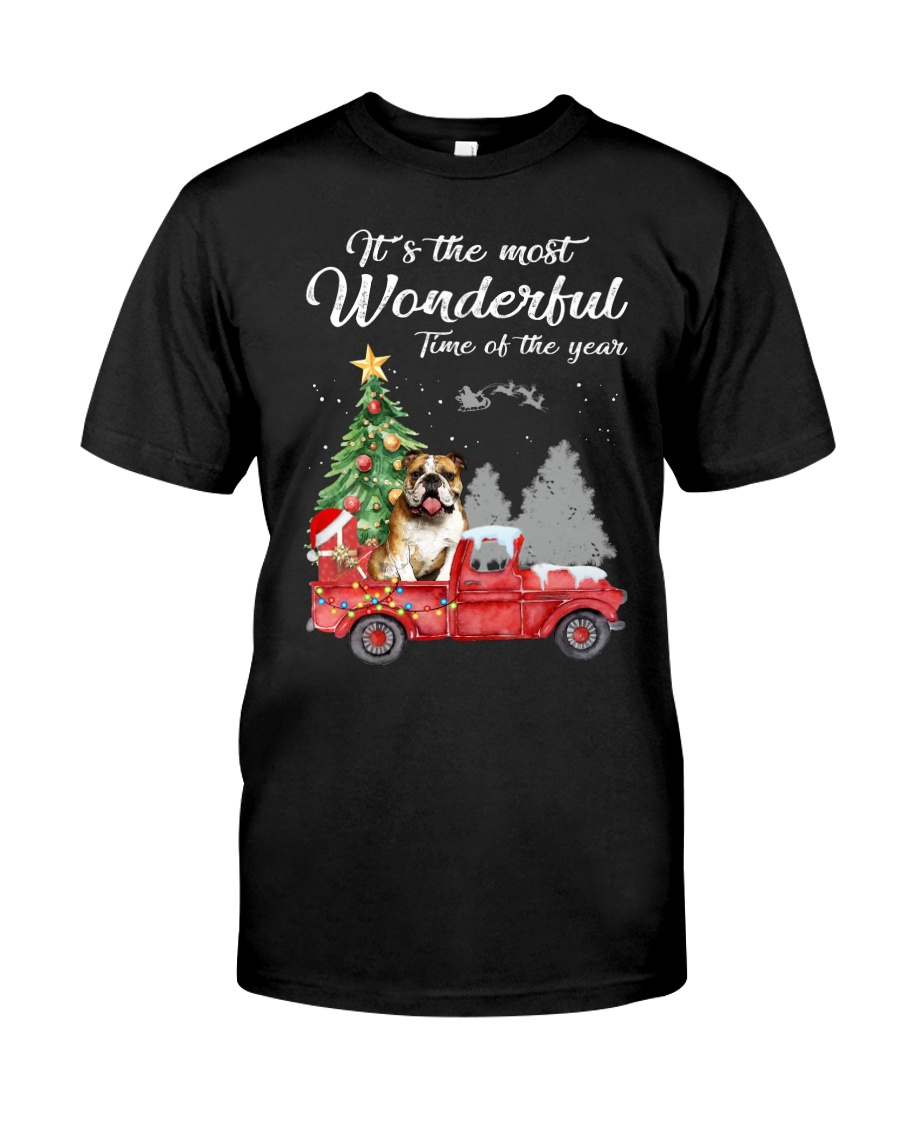 Wonderful Christmas with Truck - Bulldog Classic T-Shirt