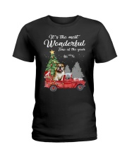 Wonderful Christmas with Truck - Bulldog Ladies T-Shirt thumbnail