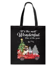 Wonderful Christmas with Truck - Bulldog Tote Bag thumbnail
