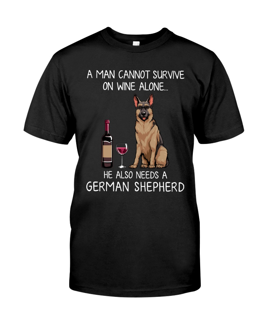 Wine and German Shepherd - Man version Classic T-Shirt