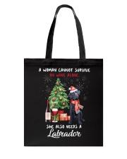 Christmas Wine and Black Labrador Tote Bag thumbnail
