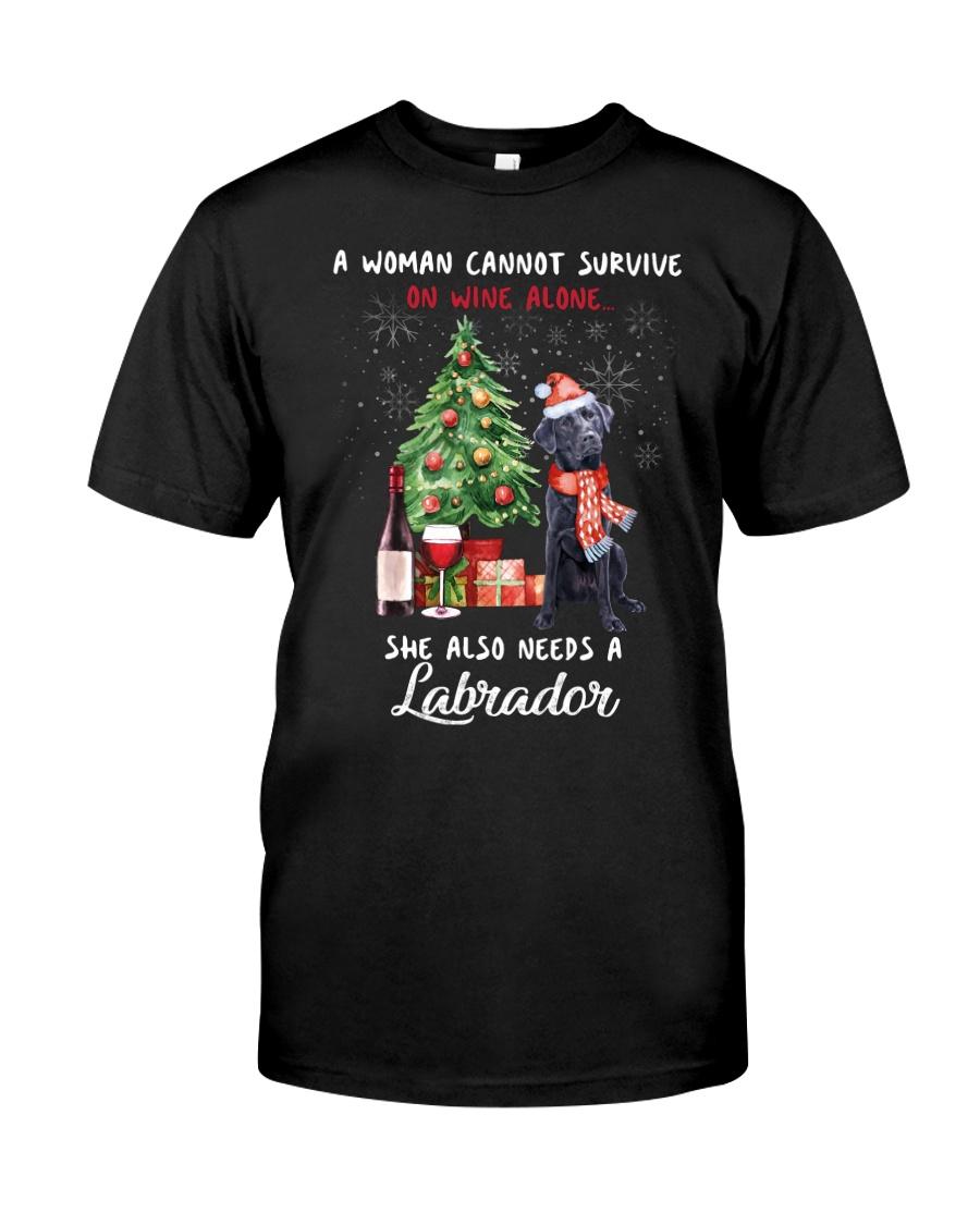Christmas Wine and Black Labrador Classic T-Shirt