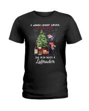 Christmas Wine and Black Labrador Ladies T-Shirt thumbnail
