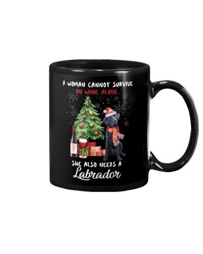 Christmas Wine and Black Labrador