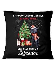 Christmas Wine and Black Labrador Square Pillowcase thumbnail
