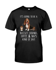 Basset Hound Coffee and Naps Classic T-Shirt front