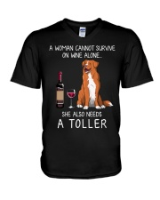 Wine and Toller V-Neck T-Shirt thumbnail