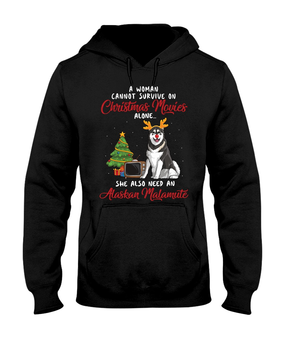 Christmas Movies and Alaskan Malamute Hooded Sweatshirt