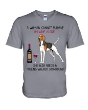 Wine and Treeing Walker Coonhound 2 V-Neck T-Shirt thumbnail