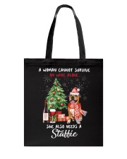 Christmas Wine and Staffie Tote Bag thumbnail