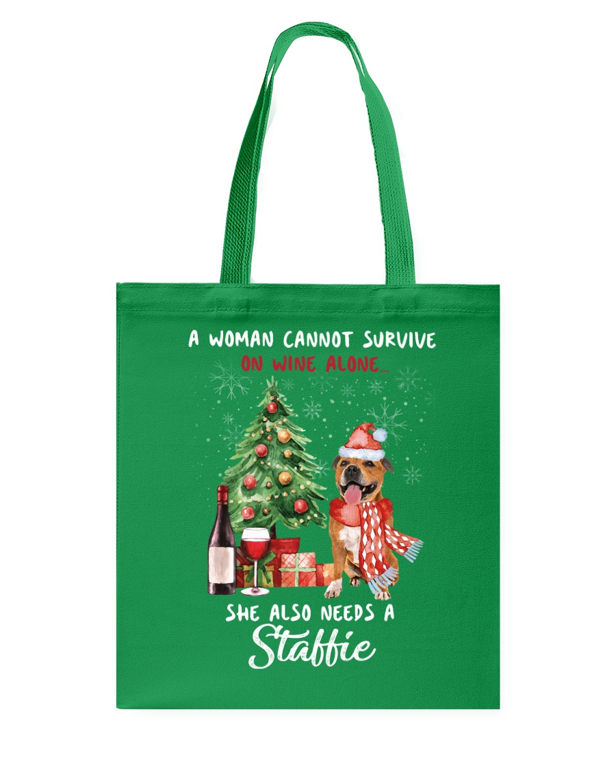 Christmas Wine and Staffie Tote Bag