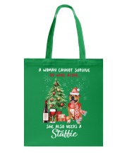Christmas Wine and Staffie Tote Bag front