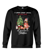 Christmas Wine and Staffie Crewneck Sweatshirt thumbnail