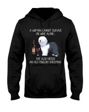 Wine and Old English Sheepdog Hooded Sweatshirt thumbnail