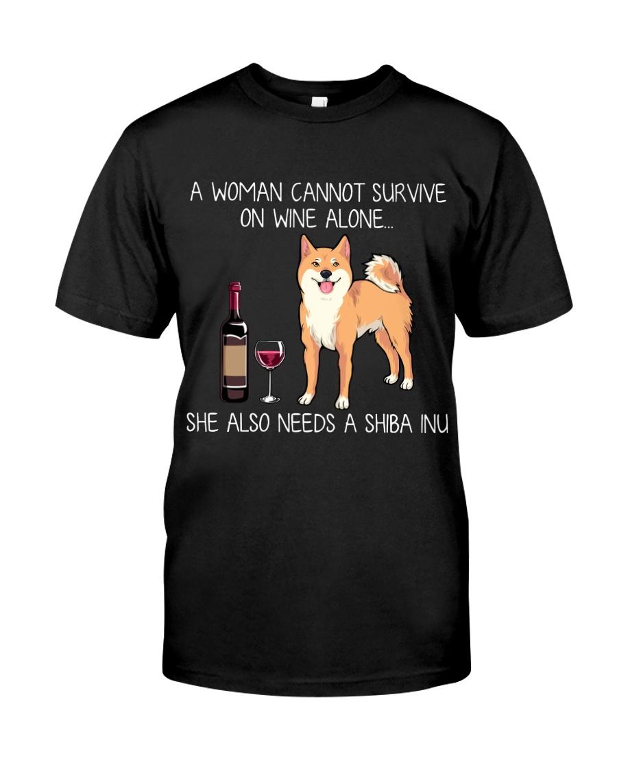 Wine and Shiba Inu Classic T-Shirt
