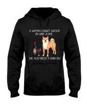 Wine and Shiba Inu Hooded Sweatshirt thumbnail