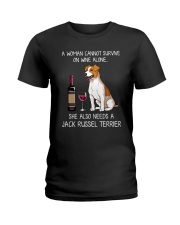Wine and Jack Russell Terrier 3 Ladies T-Shirt thumbnail