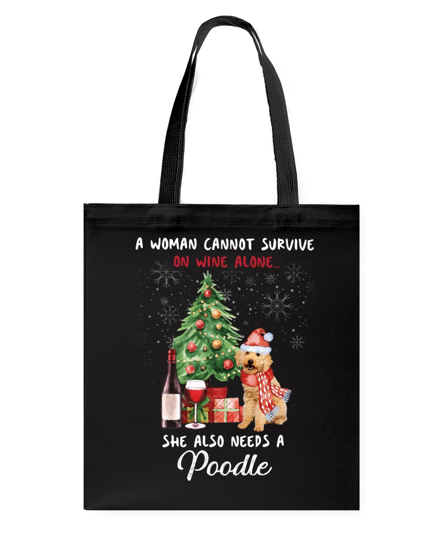 Christmas Wine and Poodle Tote Bag