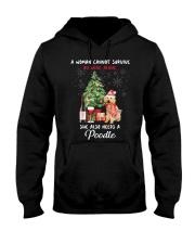 Christmas Wine and Poodle Hooded Sweatshirt thumbnail