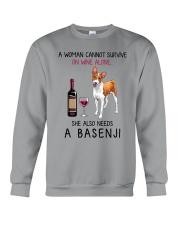 Wine and Basenji 2 Crewneck Sweatshirt thumbnail