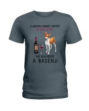 Wine and Basenji 2 Ladies T-Shirt thumbnail