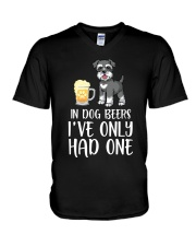 In Dog Beers I've Only Had One - Schnauzer V-Neck T-Shirt thumbnail