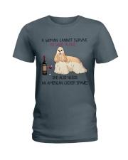 Wine and American Cocker Spaniel 2 Ladies T-Shirt thumbnail