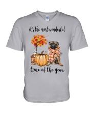 The Most Wonderful Time - Pug V-Neck T-Shirt thumbnail