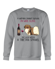 Wine and Tibetan Spaniel 2 Crewneck Sweatshirt thumbnail