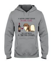 Wine and Tibetan Spaniel 2 Hooded Sweatshirt thumbnail