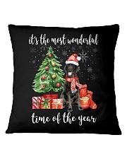The Most Wonderful Xmas - Black Labrador Square Pillowcase thumbnail